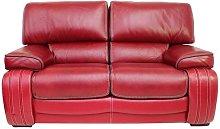 Livorno 2 Seater Genuine Italian Red Leather Sofa
