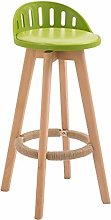 LIYG European Back Bar Stool Simple Solid Wood Bar