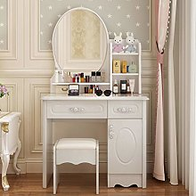 LIYIN Vanity Table with Oval Mirror, White Makeup