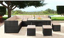 Lizette 9 Seater Rattan Corner Sofa Set with Cover