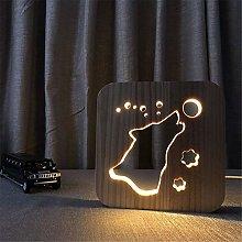 LJ Wooden Carved Night Light, 3D Lamp Creative