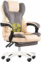 LJWJ Leather Desk Gaming Chair with Footrest High