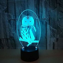 LKAIBIN Owl Colorful Gradient LED 3D Stereo Remote
