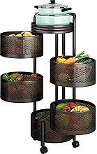 LKH Cylindrical Rolling Cart, 5 Tier Metal Storage