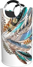 LKTBJEMFY Colorful Feather Laundry Basket, Large