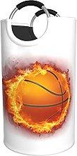 LKTBJEMFY Flaming Basketbal Laundry Basket, Large