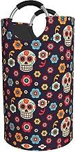 LKTBJEMFY Mexican Skull Petals Laundry Basket,