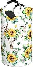 LKTBJEMFY Sunflower Floral Skull Laundry Basket,
