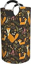 LKTBJEMFY Wildlife Foxes Flowers Laundry Basket,