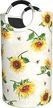 LKTBJEMFY Yellow Sunflower Laundry Basket, Large