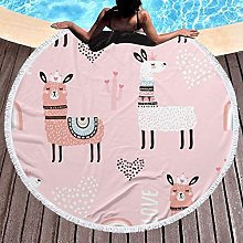 Llama Printed Round Beach Towel Yoga Picnic Mat