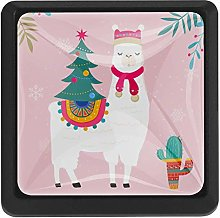 Llama with Christmas Tree Square Cabinet Knobs