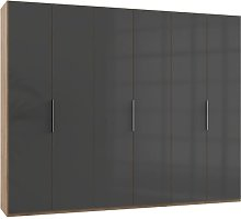 Lloyd Tall Wardrobe In Gloss Grey And Planked Oak