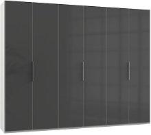 Lloyd Tall Wardrobe In Gloss Grey And White 6 Doors