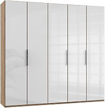 Lloyd Tall Wardrobe In Gloss White And Planked Oak