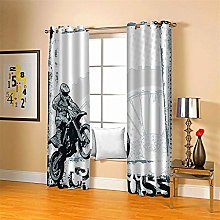 LLWERSJ Curtains Blackout Motocross Insulated