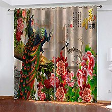 LLWERSJ Curtains Blackout Peacock Insulated