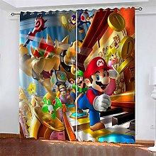 LLWERSJ Eyelet Blackout Curtains Anime Super Mario