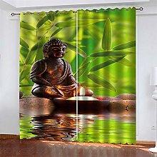 LLWERSJ Eyelet Blackout Curtains Bamboo Forest