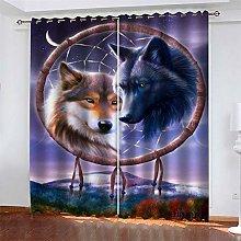 LLWERSJ Eyelet Blackout Curtains Bohemian Wolf
