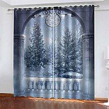 LLWERSJ Eyelet Blackout Curtains Castle snowflake