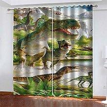 LLWERSJ Eyelet Blackout Curtains dinosaur Thermal