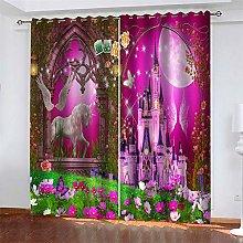 LLWERSJ Eyelet Blackout Curtains Fairy tale castle