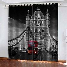 LLWERSJ Eyelet Blackout Curtains London Cable