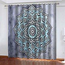 LLWERSJ Eyelet Blackout Curtains Mandala print
