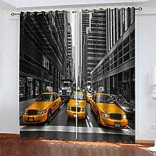 LLWERSJ Eyelet Blackout Curtains New York Taxi