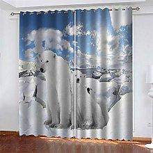 LLWERSJ Eyelet Blackout Curtains Polar bear