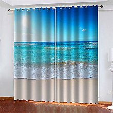 LLWERSJ Eyelet Blackout Curtains Scenic beach