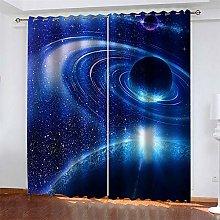 LLWERSJ Eyelet Blackout Curtains Space galaxy