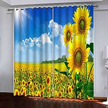 LLWERSJ Eyelet Blackout Curtains sunflower Thermal