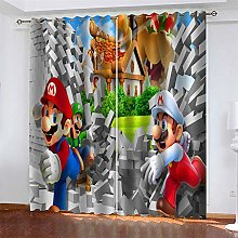 LLWERSJ Eyelet Blackout Curtains Super Mario
