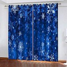 LLWERSJ Eyelet Blackout Curtains Winter snowflakes