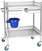 LLY 2-layer Medical Equipment Carts with 2 Drawer,