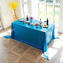 LMDY home decoration tableclothLake Blue Sequins