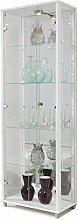 LOCKABLE Fully Assembled HOME White Double Glass