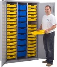 Lockable Storage Cupboard With 41 Gratnells Trays,