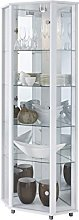 Lockable White Corner Glass Display Cabinet with