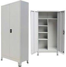 Locker Cabinet with 2 Doors Steel 90x40x180cm Grey
