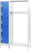 Locker Cabinet with Coat Rack Blue and Grey