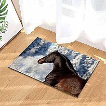 LoExTdAF Snowfield. Horse. Bathroom Floor Mats: