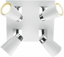 Loft spotlight plate white and polished chrome 4