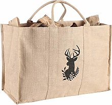 Log Bag Natural Stag Bust Canvas Jute Fireplace