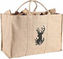 Log Bag with Deer Design Firewood Kindling Basket