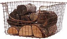 Log Basket Copper Free Standing Fireside Kindling
