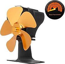 Log Burner 5-Blade Fireplace Fan, Quiet Stove Fan