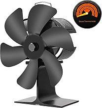 Log Burner 6 Blade Stove Fan,Heat-Driven